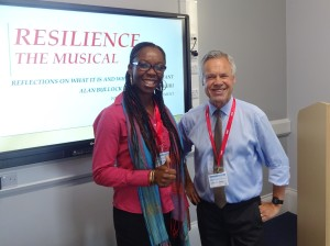 "With Dr Stella Adagiri, Director of Portsbridge Educational Services, after the premiere of our joint venture ""Resilience: The Musical"" at St John's College, Southsea in September 2016"