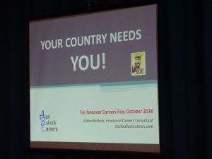 Another new venture was this presentation to over 600 students at the careers fair organised by John Hanson Community School in Andover in October 2016